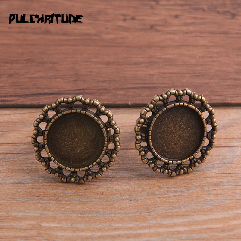 PULCHRITUDE 4pcs Fit 15mm Glass Round Cabochons,Ring Bezels Antique Bronze Color Plated Adjustable Ring Settings Blank/Base