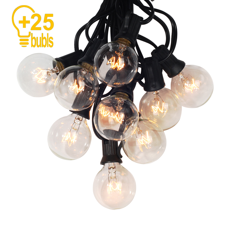 25Ft G40 Bulb Globe String Lights With Clear Bulb Backyard Patio Lights Vintage Bulbs Decorative Outdoor String Lamp For Wedding