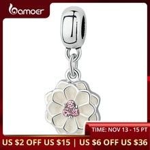 BAMOER Silver Color White BLOOMING DAHLIA PENDANT CHARM Fit Bracelets Necklaces Women Beads & Jewelry Making PA5329(China)
