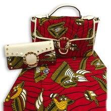 2019 Top Verkauf Wachs Stoff Made Handtasche Und 6Yards Fabirc Set Mode Baumwolle Handtasche Und Wachs Stoff Set Für party