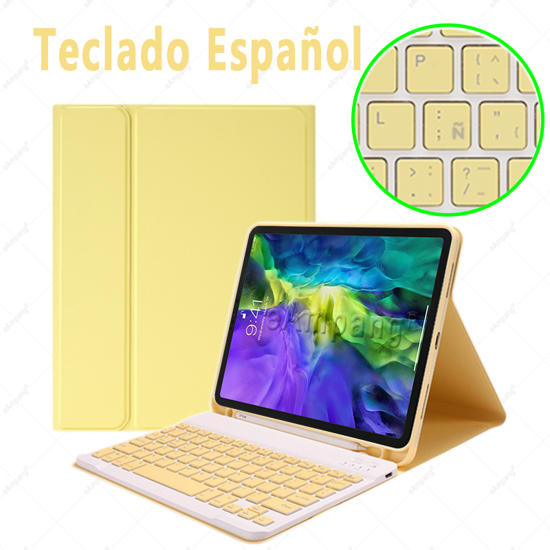 Spanish no Mouse Navy Blue For iPad Air4 10 9 2020 A2324 A2072 Keyboard Mouse Case English Russian Spanish Korean Keyboard