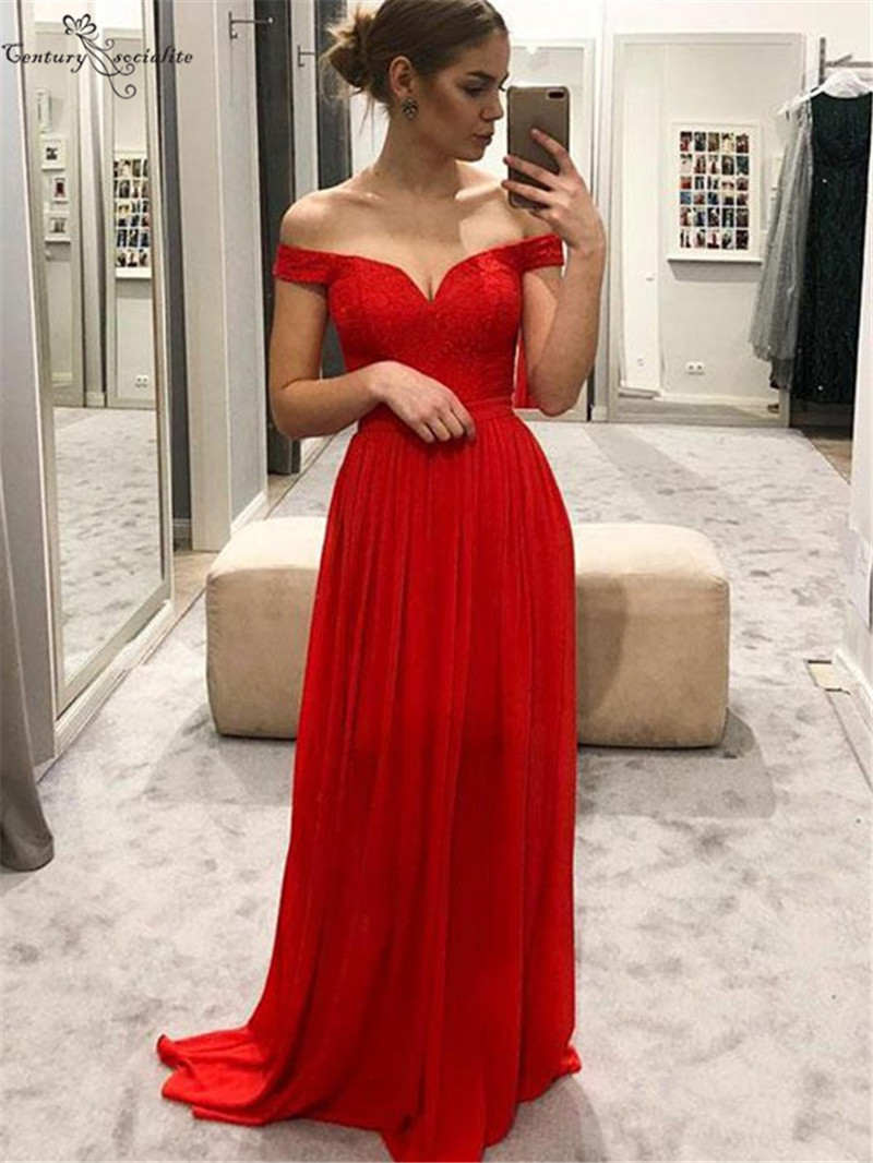 Off Shoulder Red Bridesmaid Dresses Long Lace Chiffon Corset Back Simple Dress Wedding Guest Maid of Honor Dress