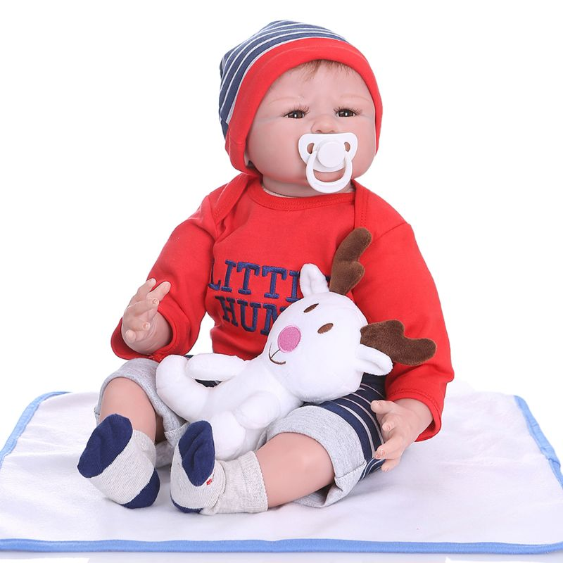 Handmade Lifelike Baby Soft Silicone Vinyl Boy Doll Reborn Newborn With Clothes