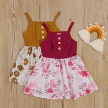 Boat Neck Sleeveless Floral Printed Pattern 1Pcs, Brown/ Wine RedGirls Casual Slip Dress