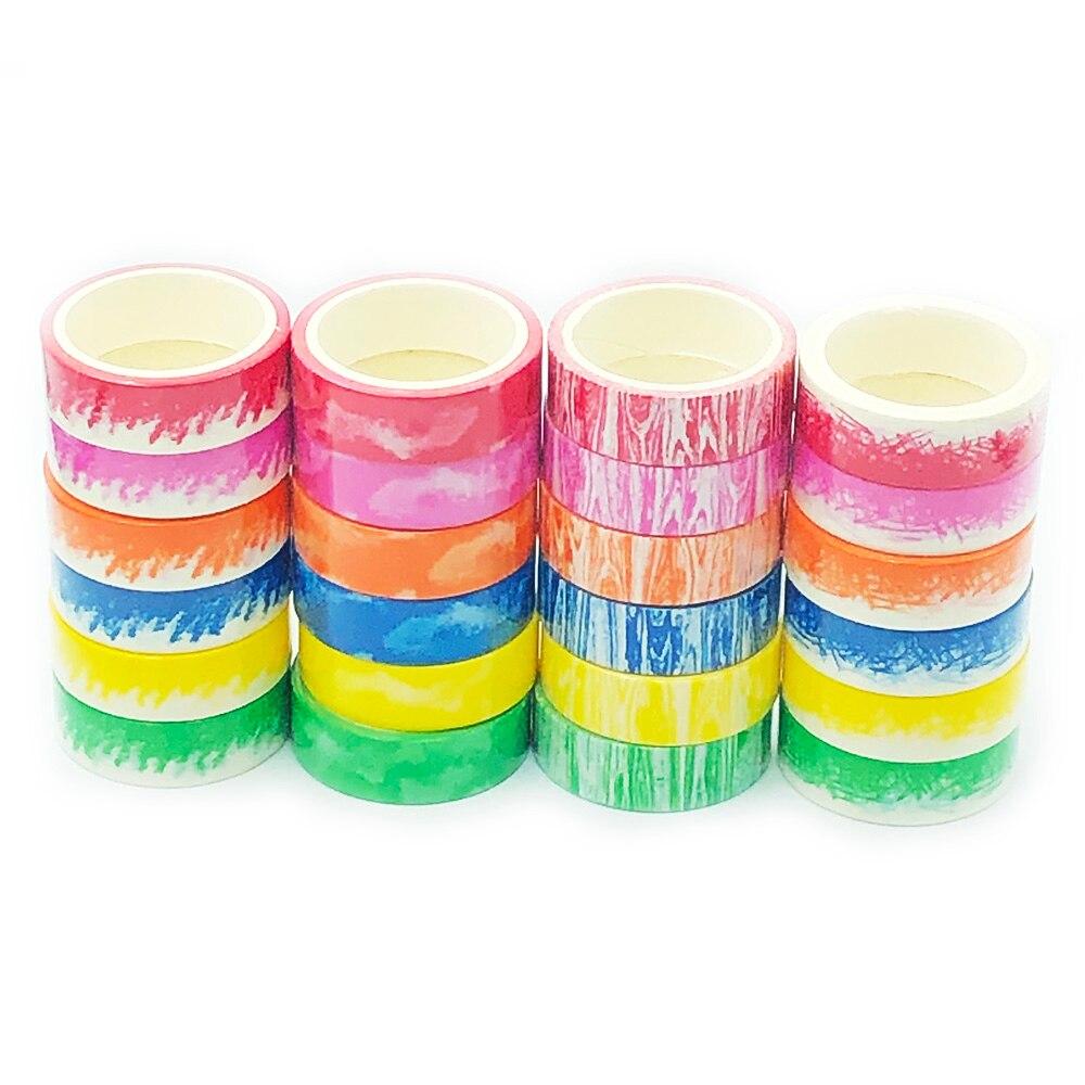 Crayon Washi Tape Set Rainbow Decorative Adhesive Tape DIY Scrapbook Deco Tape Escolar Bullet Journal Tape Solid Mask Paper Tape