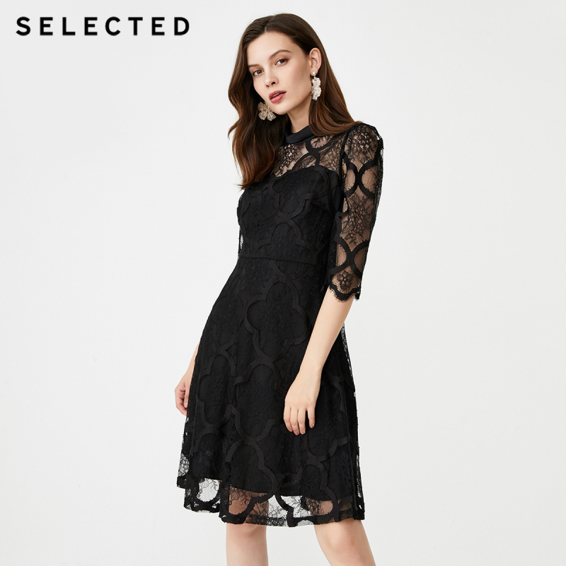 SELECTED Lace Cut-outs Midi Dress S|41932J503【Fan Get New Arrivals Coupon in the Description image