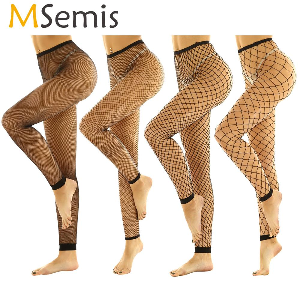 MSemis Women Fetish Fishnet Leggings Hollow Out Mesh Net Trousers See Through High Waist Transparent Footless Leggings Pants