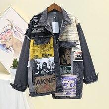 Punk Paper Patch Black Denim Jacket Women 2020 Spring Women's Denim Jac