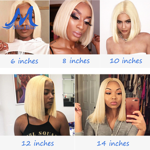 Image 5 - Missblue perruques cheveux naturels brésilien, Lace Front Transparent, pre plucked, courte coupe Bob Blonde 613, 13x6, pour femmes africaines