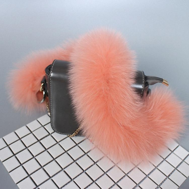2pcs/lot 55cm Replacement Bag Strap Genuine Real Fox Fur Handbag Should Straps Handle For Women Purse Belts Charm Winter BS003