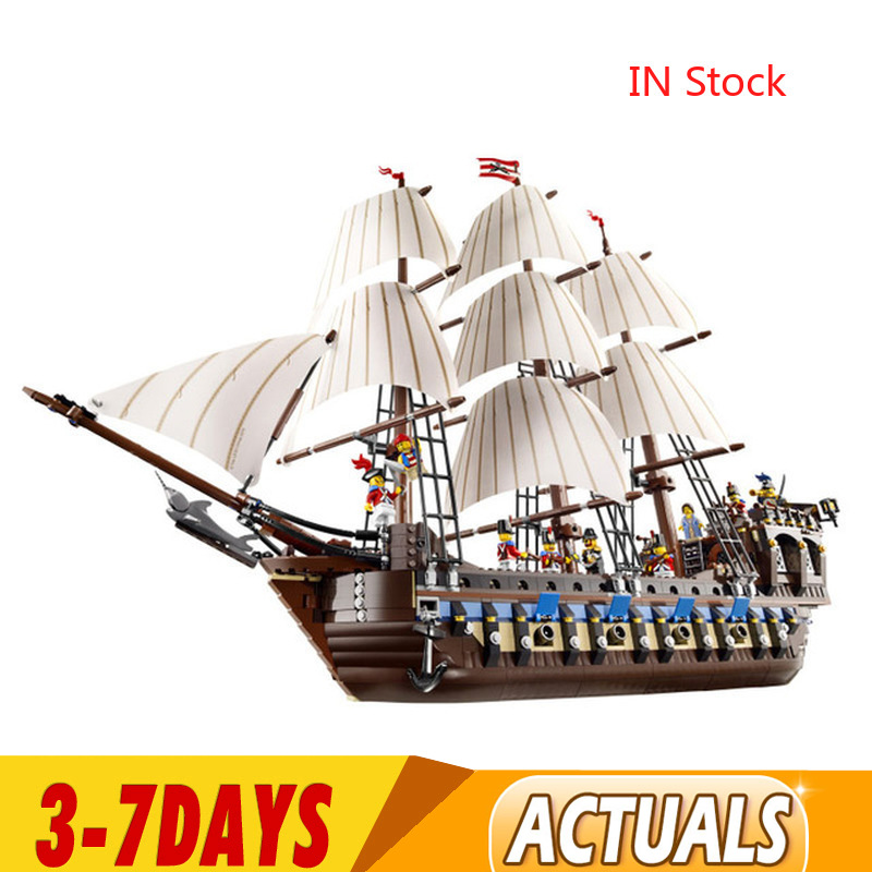 DHL 1717Pcs 22001 Pirate Ship Warships Imperial Flagship Model Building Block Briks  Educational Children Toys Birthday Gifts