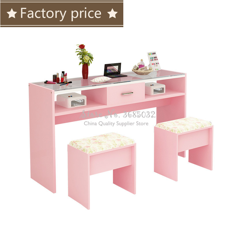 Nordic Simple Pink Nail Tables & Stools Durable Single Manicure Desk And Chair Particle Board 0.8m Width