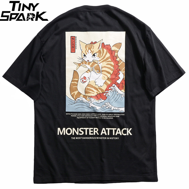2019 Men Hip Hop T Shirt Streetwear Monster Cat T Shirts Harajuku Japan Style Funny Tshirt Summer Short Sleeve Cotton Tops TeesT-Shirts   -
