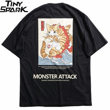 2020 الرجال الهيب هوب تي شيرت الشارع الشهير الوحش القط تي شيرت Harajuku اليابان نمط مضحك التي شيرت الصيف قصيرة الأكمام ملابس علوية من القطن تيز
