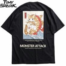 2020 남성 힙합 T 셔츠 Streetwear 괴물 고양이 T 셔츠 하라주쿠 일본 스타일 웃긴 Tshirt 여름 짧은 소매면 탑스 티셔츠