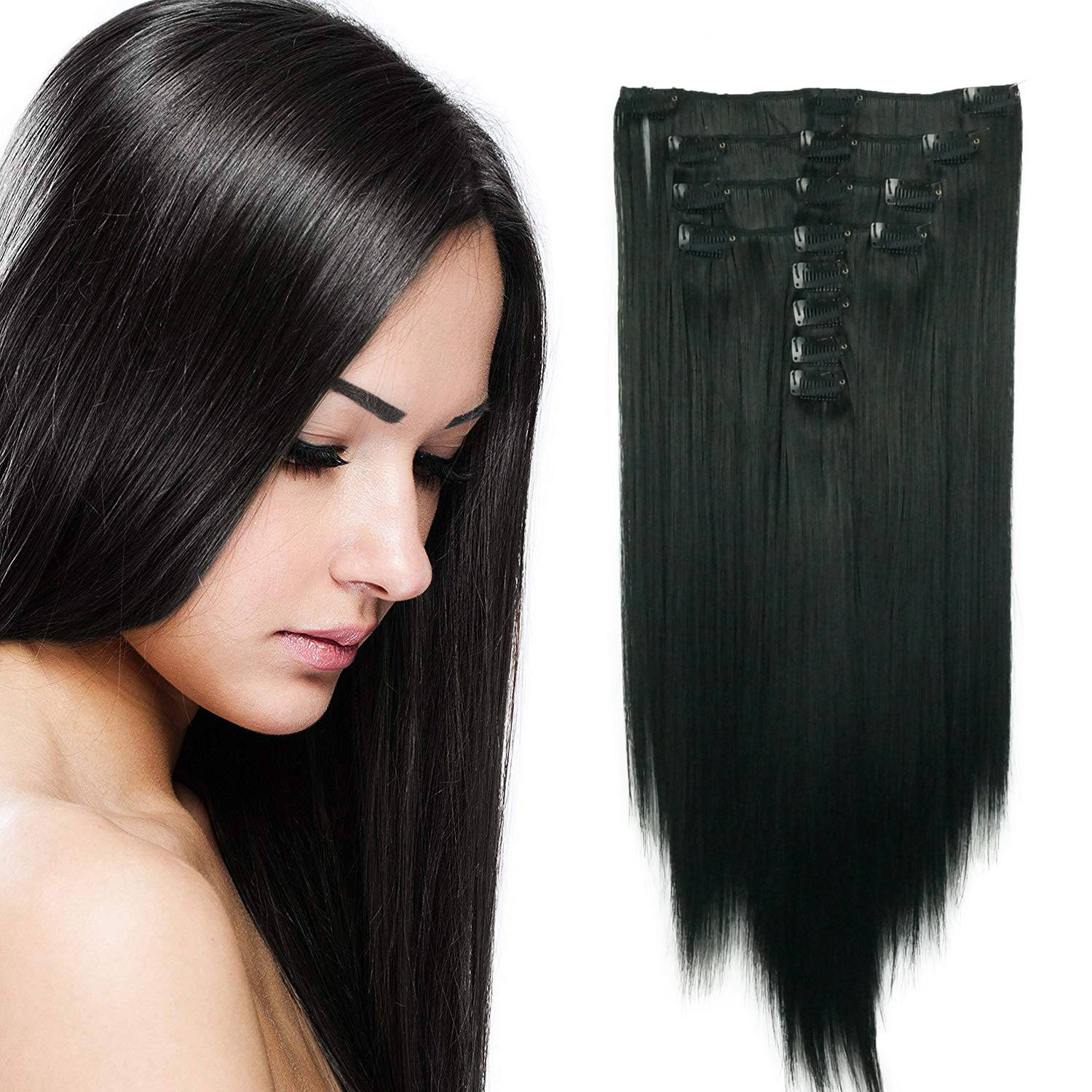 StrongBeauty 20inches Long Straight Full Head Synthetic Hair Clip in Hair Extensions 8pcs 190g COLOUR CHOICES