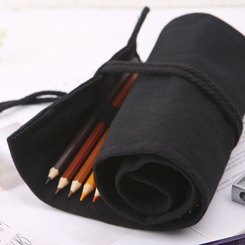 Black Color School Pencil Case Roller 12/24/36/48/72 Holes Canvas Roll Up Makeup Canvas Pen Bag For Girls Boys Stationery