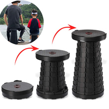 Retractable Folding Stool Outdoor Portable Adjustable Stool Lightweight Travel Camping Fishing Chair Folding Seat Max Load 130KG