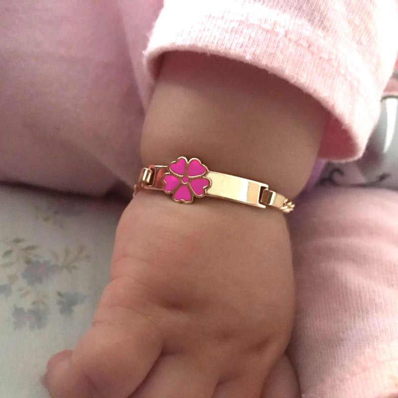Rosa coração pulseiras para bebê menina pulseira crianças jóias presente de natal batismo pulseira ouro pulsera bebe b0929