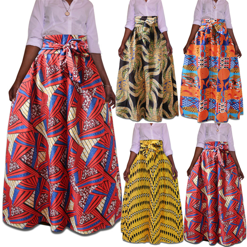 2019 News Ladies Clothes African Dresses For Women Dashiki Print Long Fashion Skirts Robe Africaine Plus Size Female Ankara
