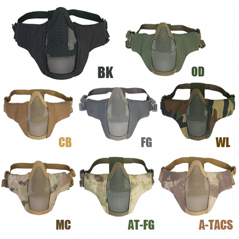 Airsoft Tactical PDW Half Face Mask Metal Mesh Skull Protective Military Army Wargame Hunting Accessories Paintball Masks