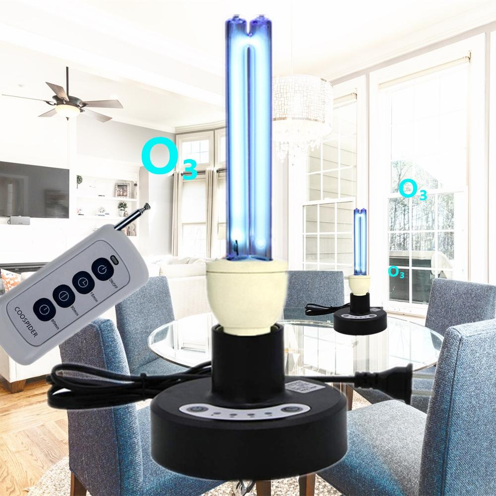 Timer Remote Control Kit W/ UV Quartz Germicidal Light Table Lamp 25 Watt, Disinfect Ozone & Free, US Or EU Plug,lock Protection