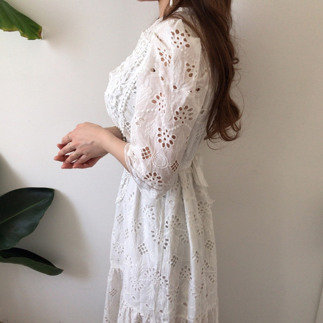 H8d8fcf3cf02e418a9d54f105c37f8194a - Summer Korean O-Neck Half Sleeves High Waist Lace Hook Flowers Hollow Out Midi Dress