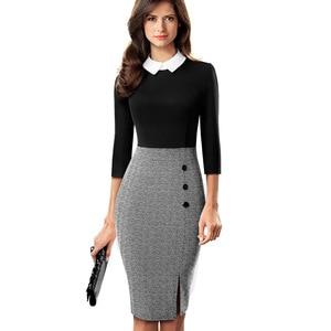 Image 3 - لطيفة للأبد أنيقة التباين اللون المرقعة مكتب العمل vestidos الأعمال حفلة المرأة Bodycon فستان B568