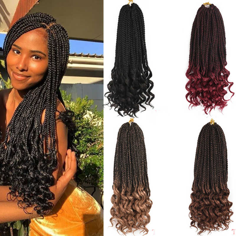 18 Inch Box Braids Crochet Hair Ombre
