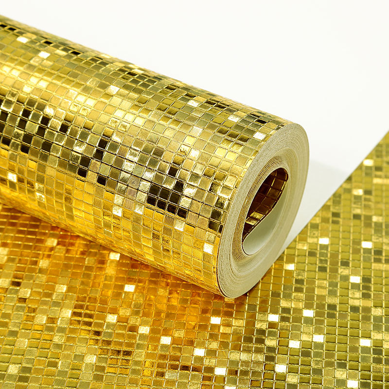 Gold Silver Gold Foil Plaid Mosaic Wallpaper Wall Ceiling Pillar KTV Counter Reflective Stereo Wallpaper