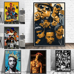 Modern Fashion West Hip Hop Rap Star Posters Old School 2PAC Biggie Smalls Prints Canvas Painting Wall Art Pictures Home Decor