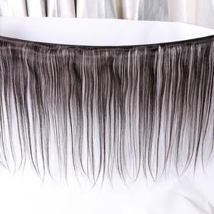 Image 4 - Mechones de pelo liso brasileño con Frontal Natural de Color Remy, 3 mechones de pelo humano con cierre Frontal de malla 360, de Gabrielle