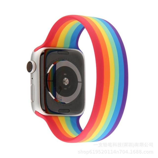 Arc-en-ciel Solo boucle bracelet de montre pour Apple bracelet de montre 42/44mm Silicone ceinture élastique bracelet pour iwatch série 6 SE 5 4 38/40mm