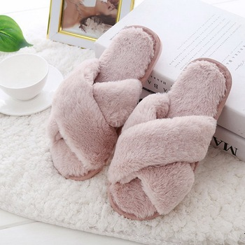 CYSINCOS Women Slippers Winter Shoes Flat Sweet Home Slippers Woman Indoor Fur Warm Soft Slip On Black Pink Grey Female Slipper