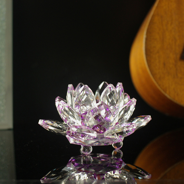 Fengshui K9 Crystal Lotus Flower Paperweight for Wedding Favor Home Decoration Holiday Gifts 4