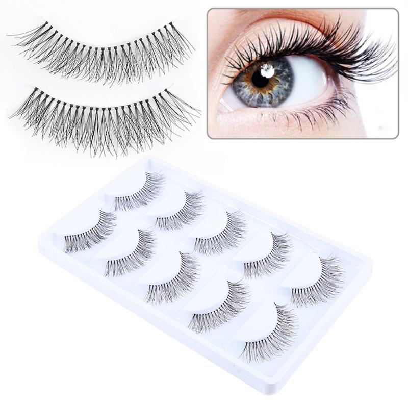 5 Pairs Handmade False Eyelashes Thick Fiber Eyelashes Fake Eye Lashes Extensions Tool Wispy Makeup Beauty Extension Tools TSLM1