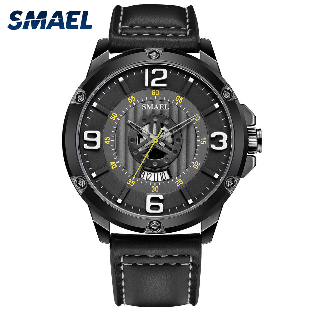 SMAEL The Men's Watches Black Leather Watchband Calendar Clock 30M Waterproof Watch 9115 Relogio Masculino Quartz Wristwatches