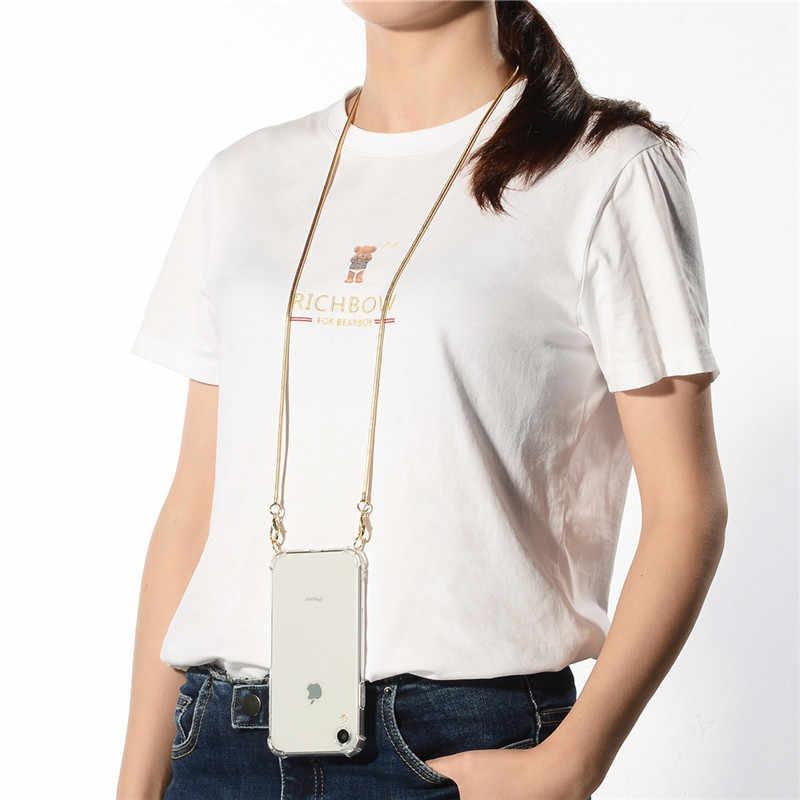 شفاف حزام الحبل سلسلة معدنية الشريط قلادة الهاتف حقيبة لهاتف أي فون 11 7 8 6s 6 Plus 11Pro X XR XS ماكس لينة الغلاف