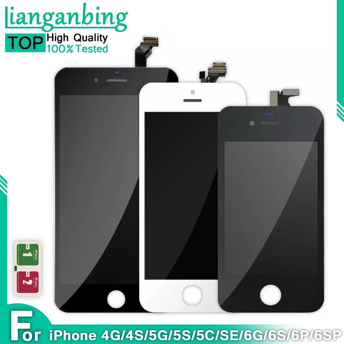 ЖК-дисплей качества AAA для Apple iPhone 4, 5 5S SE, 6, 6S, 6, 6S plus, дисплей с сенсорным экраном и дигитайзером в сборе, Замена + закаленное стекло