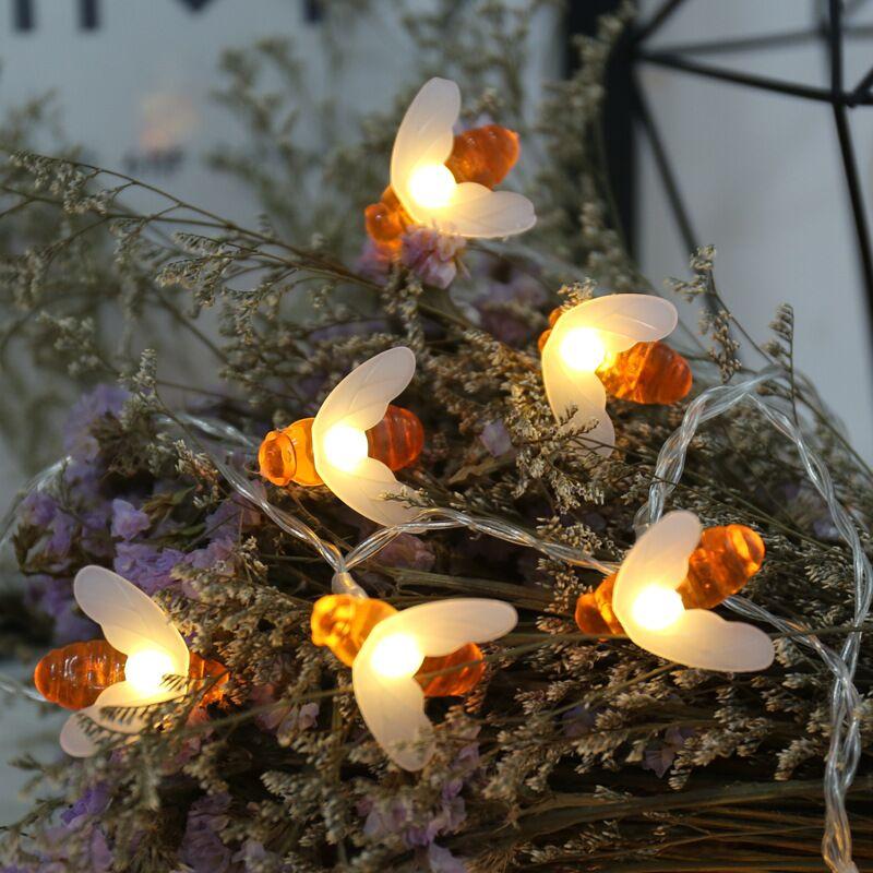 10leds 20leds 30leds 40leds Bee Shaped Led String Lights Battery Operated Christmas Holiday Party Garden Decorative Fairy Lights