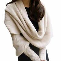 Abrigo de punto bufanda con mangas nuevas bufandas de lana de invierno para hombres y mujeres con mangas bufanda tejida gruesa cálida de alta gama de moda