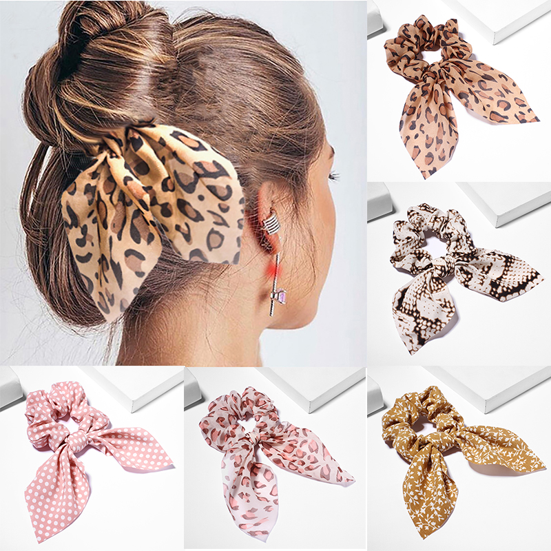 Fashion Rabbit Ears Hairbands Ponytail Scarf Elastic Hair Rope For Women Scrunchies Leopard Hair Bands Solid Ribbon Hairbands