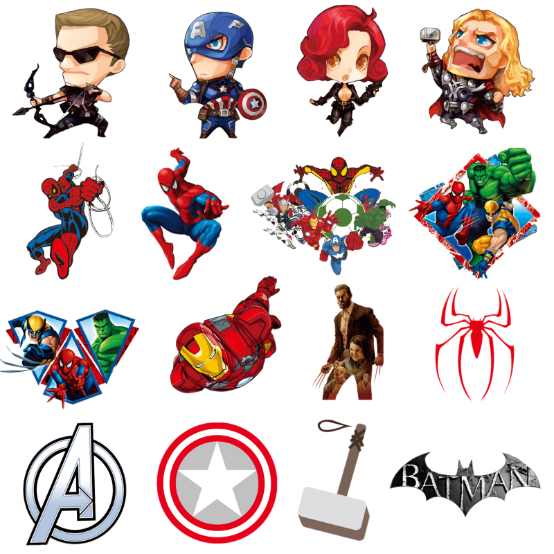 1PCS Hot Selling Cartoon Black Widow Thermische Transfer Sticker Iron Op Patch Thor Spider Man Icoon Applique Voor DIY kleding Decor