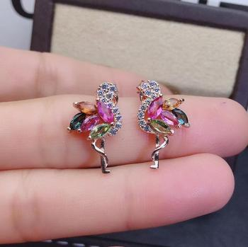 romantic Lovers double bird natural Multicolor tourmaline stud earrings Natural gem earrings S925 silver girl party gift jewelry