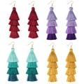 Neue 4 Schicht Böhmischen Multicolor Erklärung Quaste Ohrringe Gelb Ohr ring Frauen Großen Tropfen Baumeln Ohrring 2021 Boho Indische Schmuck