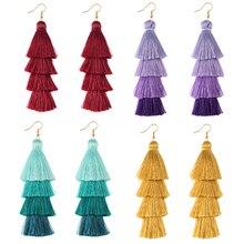New 4 Layer Bohemian Multicolor Statement Tassel Earrings Yellow Ear ring Women Big Drop Dangle Earring 2019 Boho Indian Jewelry