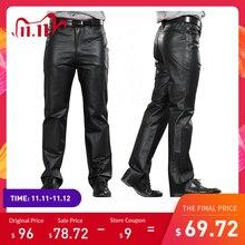 2020 Male Genuine Leather Pants Plus Size Straight Pants Men Sheepskin Pants Zipper Fly Mens Regular Full Length Pants 7XL