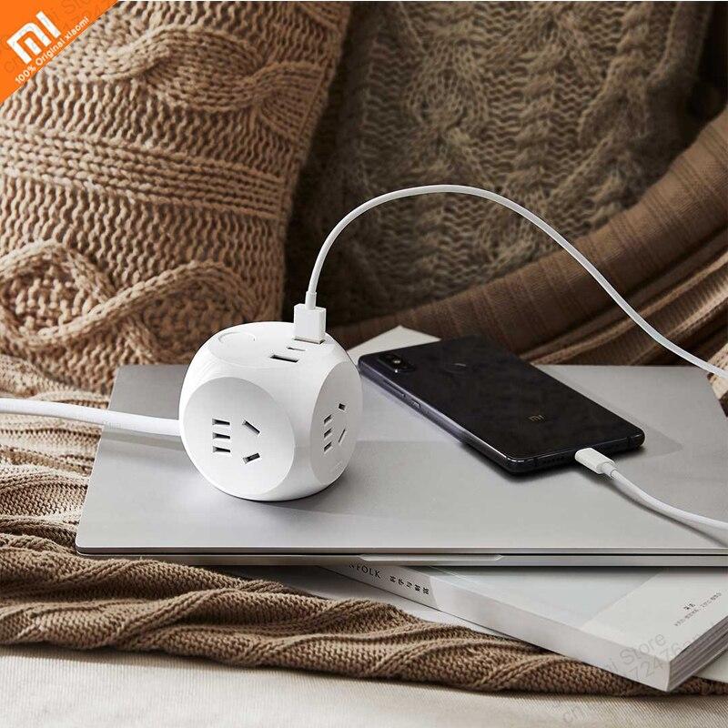 Tüketici Elektroniği'ten Akıllı Uzaktan Kumanda'de Xiaomi mijia Rubik küp soket güç adaptörü ile akıllı hızlı 3 ulusal standart fiş 2USB1Type C1.5m uzatma fişli kablo title=