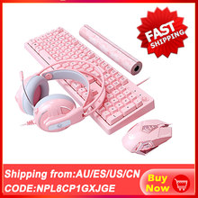 Mechanical Gaming Sets Keyboard Mouse Headset Combos Cute Pink Mechanical Teclado 3200 DPI Optical Mouse Headset for PC Gamer