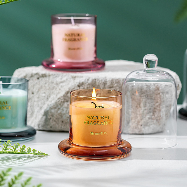 1PC High-End Aromatherapy  Smokeless Glass Scented Candle Bell Jar  2